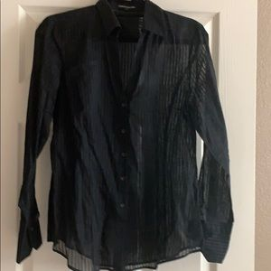Long sleeved sheer striped black blouse